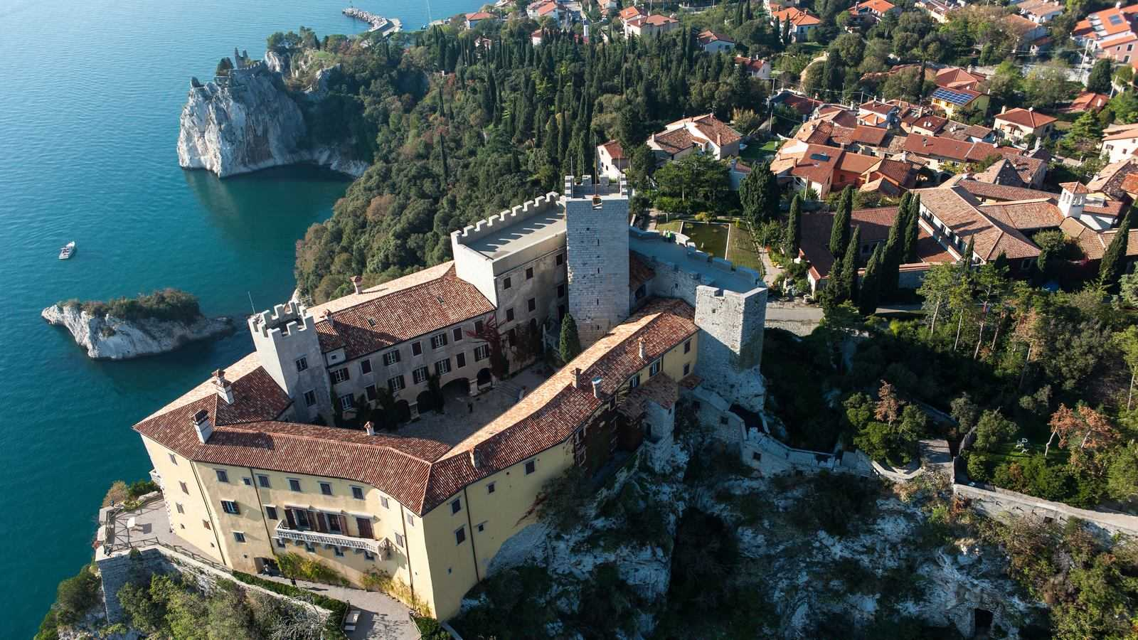 Aerial view of Duino Castle