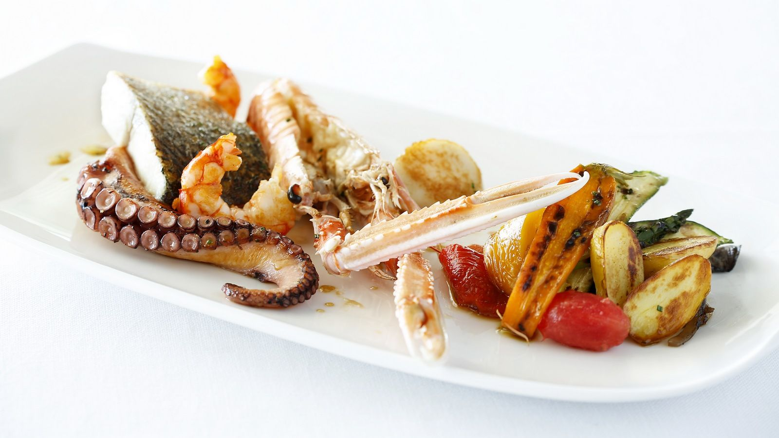 Fish and grilled vegetables